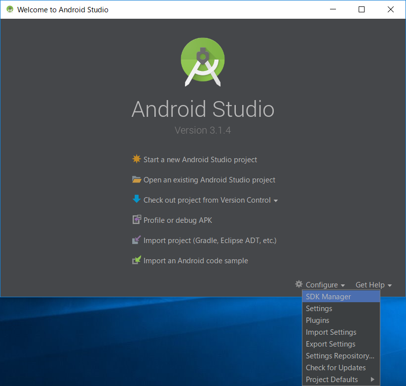 Android Studio [Configure]-[SDK Manager]
